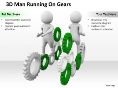 Business People 3d Men Running On Gears PowerPoint Slides