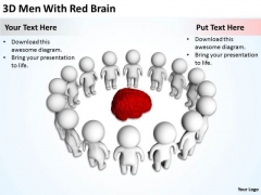 Business People 3d Men With Red Brain PowerPoint Templates Ppt Backgrounds For Slides