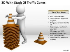 Business People 3d With Stack Of Traffic Cones PowerPoint Templates Ppt Backgrounds For Slides