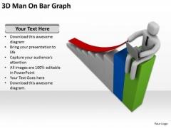 Business People Clip Art 3d Man On Bar Graph PowerPoint Slides