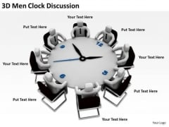 Business People Clip Art 3d Men Clock Discussion PowerPoint Templates Ppt Backgrounds For Slides