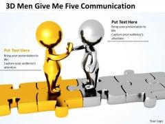 Business People Clip Art 3d Men Give Five Communication PowerPoint Slides