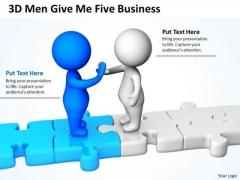 Business People Clip Art 3d Men Give Five New PowerPoint Presentation Slides