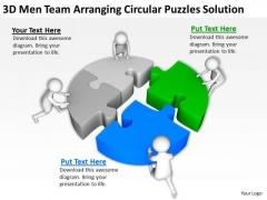 Business People Clip Art 3d Men Team Arranging Circular Puzzles Solution PowerPoint Slides