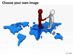 Business People Clip Art On World Map PowerPoint Presentations Templates