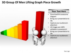 Business People Clipart 3d Group Of Men Lifting Graph Piece Growth PowerPoint Slides