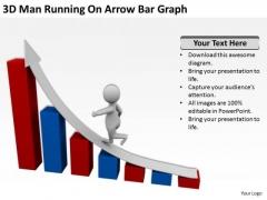 Business People Clipart 3d Man Running On Arrow Bar Graph PowerPoint Templates