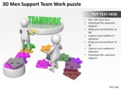 Business People Clipart 3d Men Support Team Work Puzzle PowerPoint Templates