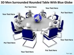 Business People Clipart 3d Men Surrounded Table With Blue Globe PowerPoint Templates