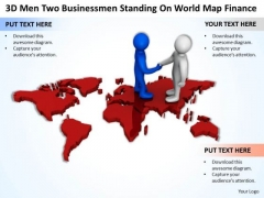 Business People Clipart 3d Men Two Businesmen Standing On World Map Finance PowerPoint Slides