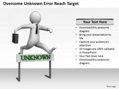 Business People Clipart Overcome Unknown Error Reach Target PowerPoint Templates