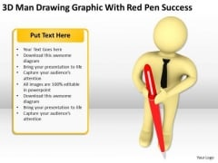 Business People Graphic With Red Pen Success PowerPoint Templates Ppt Backgrounds For Slides