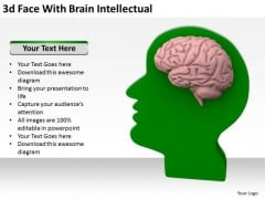 Business People Images 3d Face With Brain Intellectual PowerPoint Slides