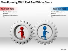 Business People Images 3d Men Running With Red And White Gears PowerPoint Slides