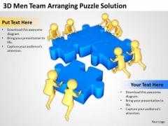 Business People Images 3d Men Team Arranging Puzzle Solution PowerPoint Slides