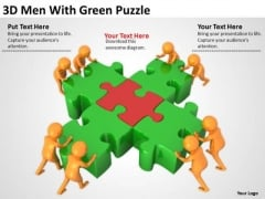 Business People Images 3d Men With Green Puzzle PowerPoint Slides