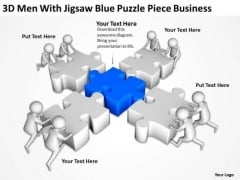 Business People Images 3d Men With Jigsaw Blue Puzzle Piece PowerPoint Slides