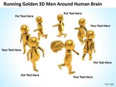 Business People Images Illustration Of Running Golden 3d Man Around Human Brain PowerPoint Slides