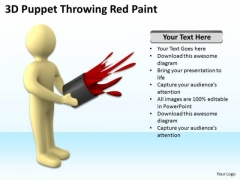 Business People Images With Red Paint Splashing Throwing Puppet PowerPoint Slides