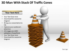 Business People Man With Stack Of Traffic Cones PowerPoint Templates Ppt Backgrounds For Slides