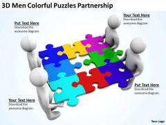 Business People Pictures 3d Men Colorful Puzzles Partnership PowerPoint Templates