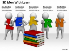 Business People Pictures 3d Men With Learn PowerPoint Templates