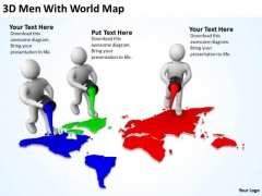 Business People Pictures 3d Men With World Map PowerPoint Templates