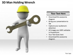 Business People Vector 3d Man Holding Wrench PowerPoint Templates Ppt Backgrounds For Slides