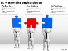 Business People Vector 3d Men Holding Puzzles Solution PowerPoint Templates