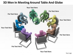 Business People Vector 3d Men Meeting Around Table And Globe PowerPoint Templates