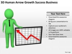 Business People Vector Arrow Growth Success Free PowerPoint Templates Slides