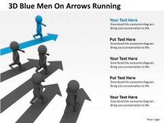 Business People Vector Blue Men On Arrows Running PowerPoint Templates Ppt Backgrounds For Slides