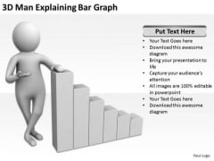 Business People Walking 3d Man Explaining Bar Graph PowerPoint Templates