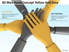 Business People Walking 3d Man Hand Concept Yellow Grey PowerPoint Slides