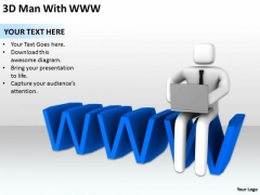 Business People Walking 3d Man With Www PowerPoint Templates