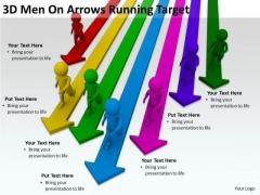 Business People Walking 3d Men On Arrows Running Target PowerPoint Slides