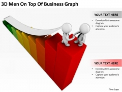 Business People Walking 3d Men On Top Of Graph PowerPoint Templates