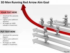 Business People Walking 3d Men Running Red Arrow Aim Goal PowerPoint Slides