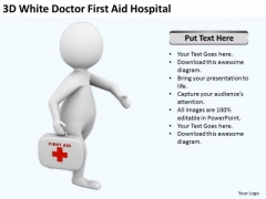 Business People Walking 3d White Doctor First Aid Hospital PowerPoint Slides