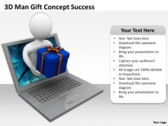 Business Persons 3d Man Gift Concept Success PowerPoint Templates