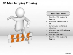 Business Persons 3d Man Jumping Crossing PowerPoint Templates