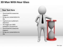Business Persons 3d Man With Hour Glass PowerPoint Slides