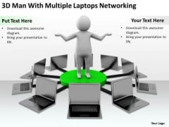 Business Persons 3d Man With Multiple Laptops Networking PowerPoint Slides