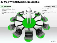 Business Persons 3d Man With Networking Leadership PowerPoint Slides