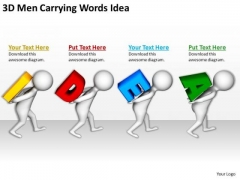 Business Persons 3d Men Carrying Words Idea PowerPoint Templates