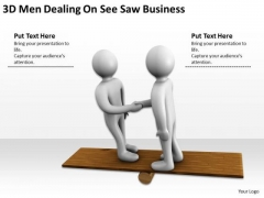 Business Persons 3d Men Dealing See Saw PowerPoint Theme Slides