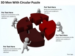 Business Persons 3d Men With Circular Puzzle PowerPoint Slides