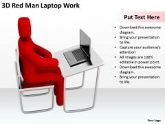 Business Persons 3d Red Man Laptop Work PowerPoint Templates Ppt Backgrounds For Slides