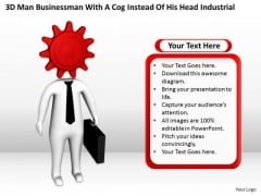 Business Persons Cog Instead Of His Head Industrial PowerPoint Templates Ppt Backgrounds For Slides