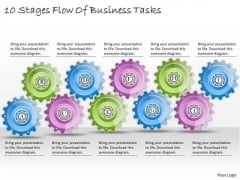 Business Plan And Strategy 10 Stages Flow Of Tasks Strategic Planning Model Ppt Slide